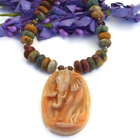 One of a kind elephant pendant necklace with red creek jasper gemstones.
