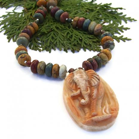 Artisan handmade elephant pendant necklace with earthy red creek jasper.