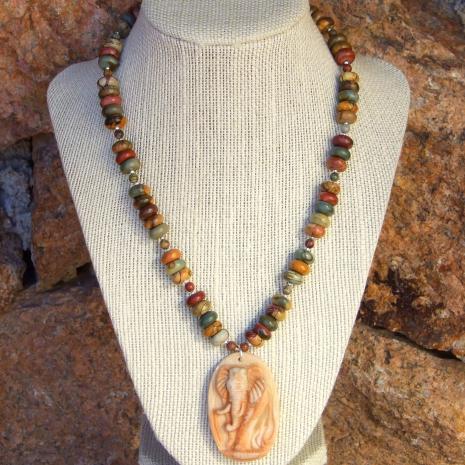 Elephant necklace gift idea.