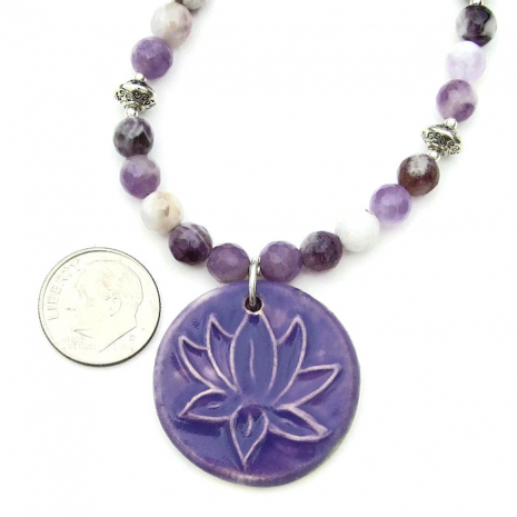 Lotus flower yoga necklace for women