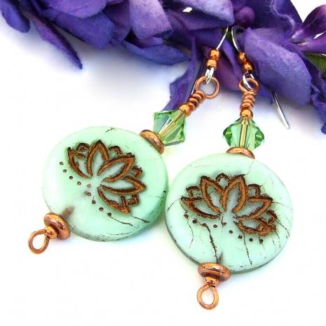 lotus flower yoga earrings swarovski crystals