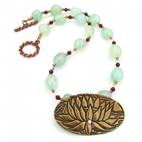 lotus pendant and gemstone necklace gift for women