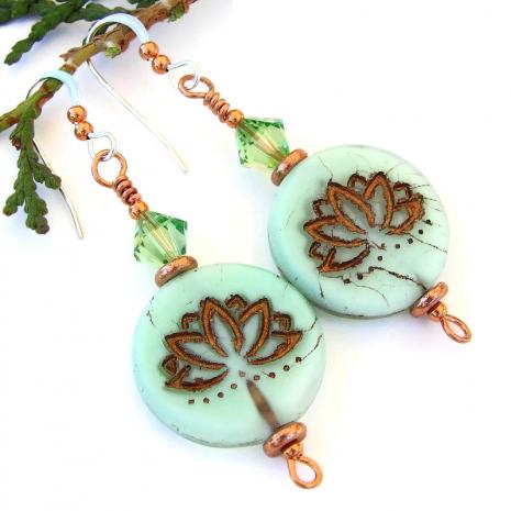 lotus yoga earrings peridot swarovski crystals