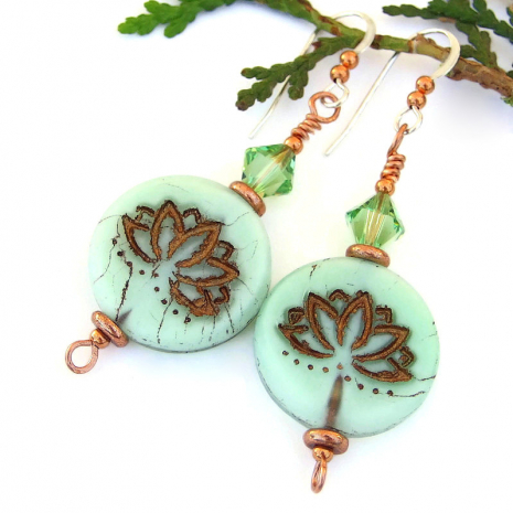 lotus yoga jewelry peridot swarovski crystals