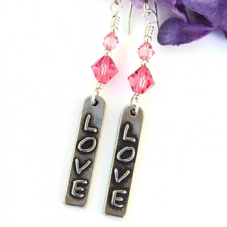 love word earrings with pink swarovski crystals