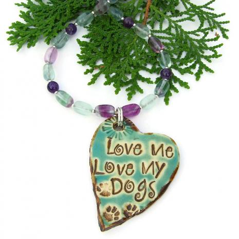 love me love my dogs jewelry fluorite amethyst gemstones