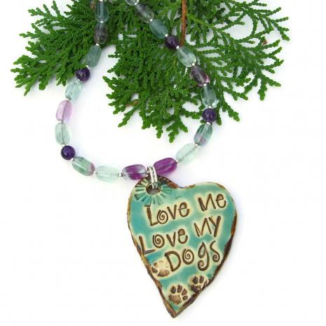 love me love my dogs necklace fluorite amethyst gemstones