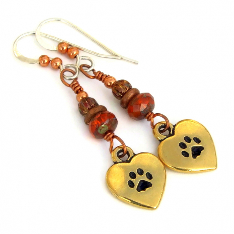 love my cat paw prints earrings gift for her