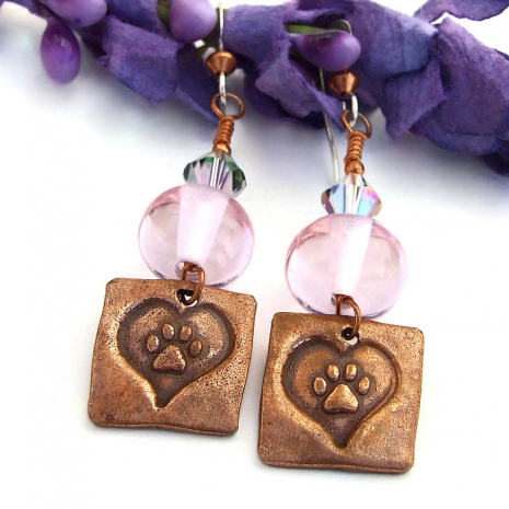 Artisan handmade dog rescue earrings with pink lampwork beads.