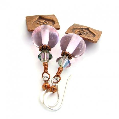 Meaningful handmade dog paw print and hearts earrings.x