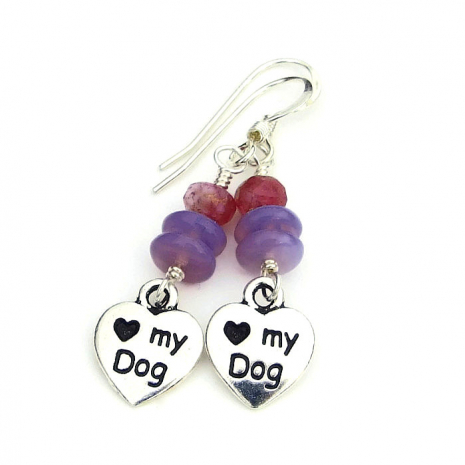 love my dog heart charm earrings gift for her