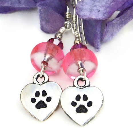 love my dog paw prints earrings for her