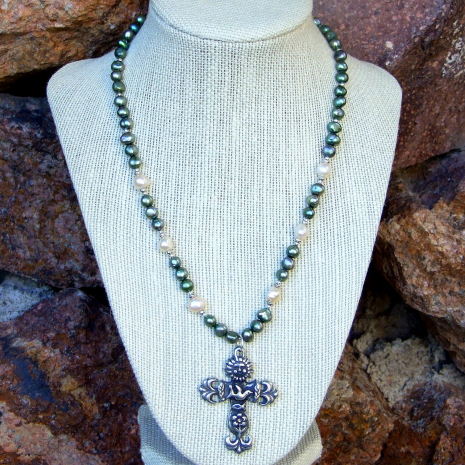 handmade cross necklace for her