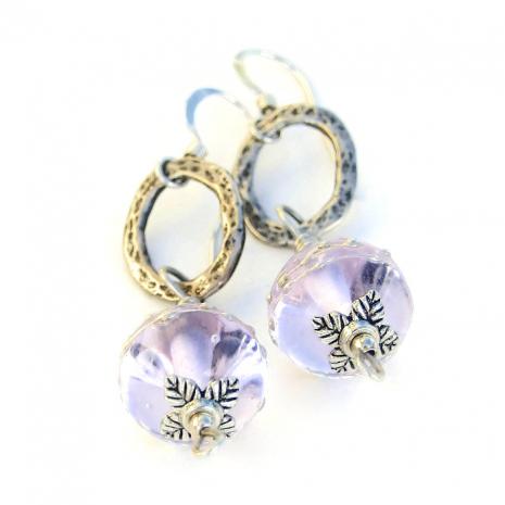 Lavender lampwork earrings gift ideas.