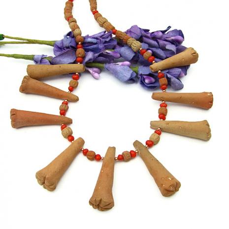 Rustic terracotta tribal jewelry gift idea for women