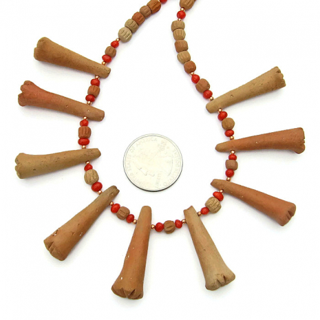 Terracotta ethnic necklace, beads from Mali