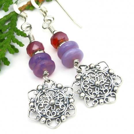 mandala flower filigree earrings czech glass purple pink