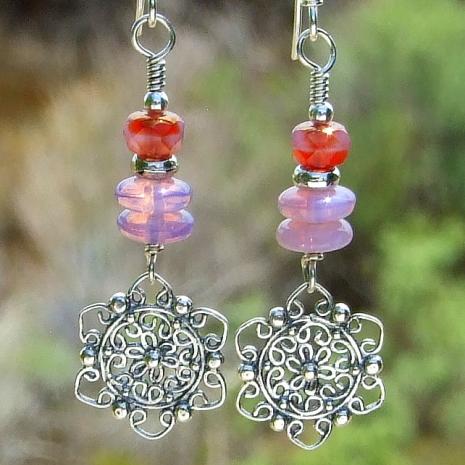 mandala flower handmade earrings gift for her