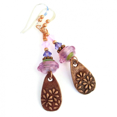 Beautiful copper daisy flower, pink lampwork and crystal earrings.