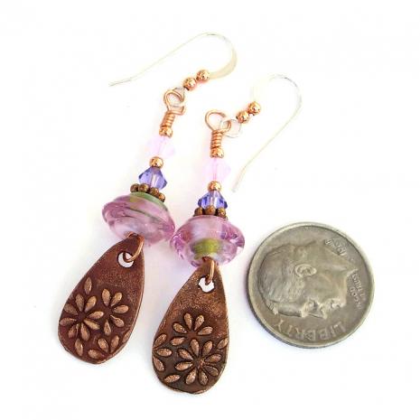 Handmade Margherita daisy flower earrings - one of a kind jewelry.