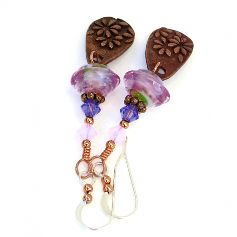 Artisan handmade daisy earrings with pink lampwork and Swarovski crystals.