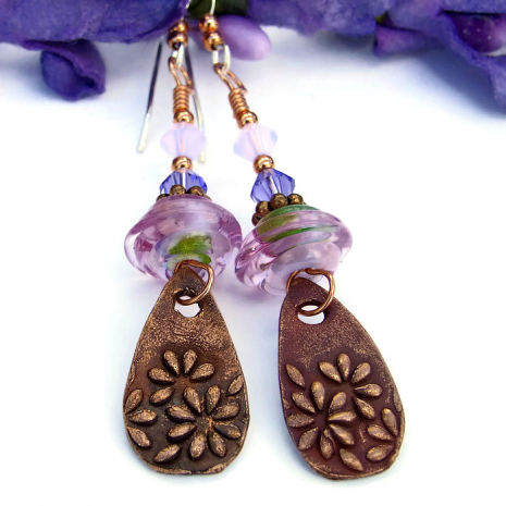 Unique copper daisy flower and pink lampwork handmade earrings.