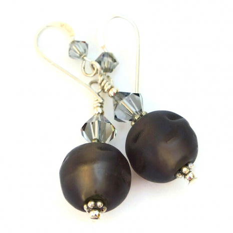 matte brown glass earrings gift for her