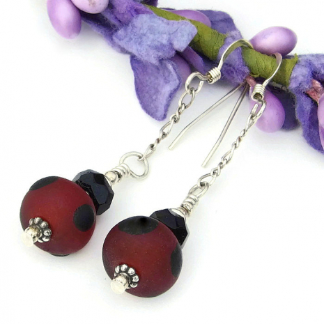 red and black lampwork jewelry for her