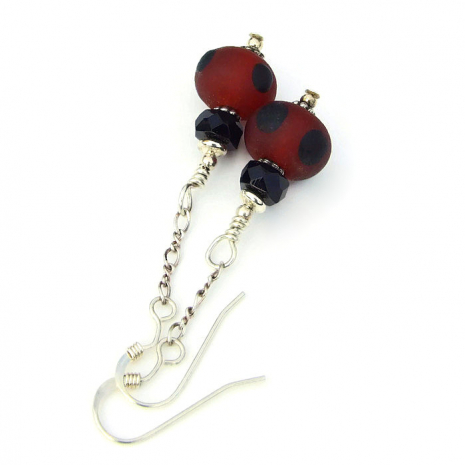 red and black lampwork earrings for her
