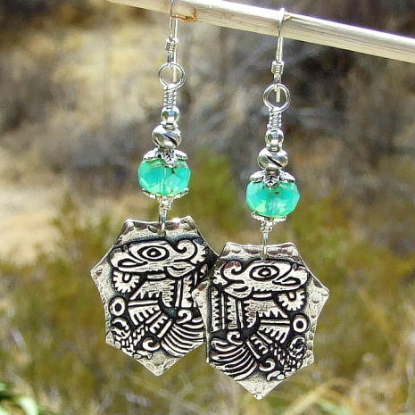 mayan aztec bird god earrings quetzal