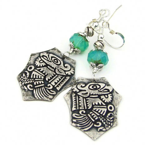 mayan bird quetzalcoatl earrings gift for women