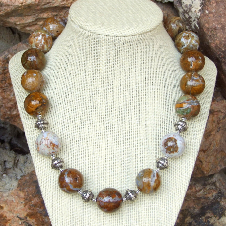 ocean jasper necklace with druzy crystals