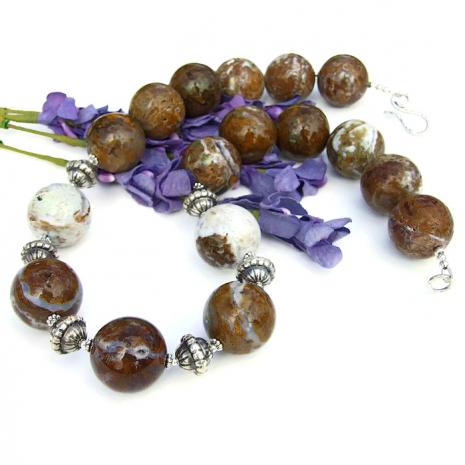 Gemstone statement necklace.