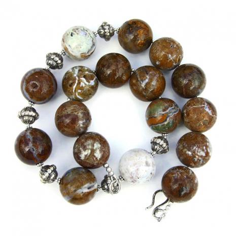Ocean jasper with druzy jewelry for women.