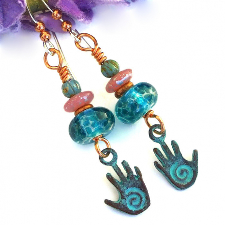 meaningful spiral healing hand earrings gift