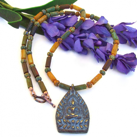 meditating shakyamuni jewelry with rustic czech glass