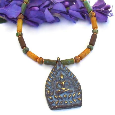 meditating shakyamuni necklace with rustic czech glass