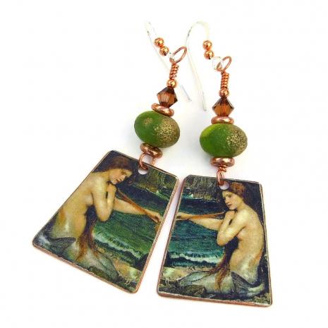 mermaid handmade earrings gift for women
