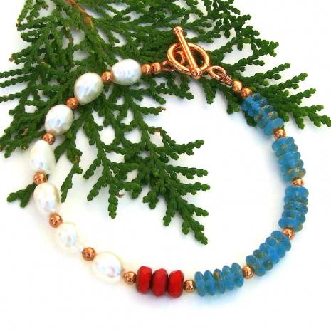 mermaids dream pearl and czech glass bracelet