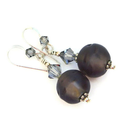 metallic center frosted brown glass jewelry swarovski crystals
