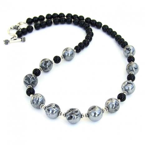 Druzy and black jasper necklace.