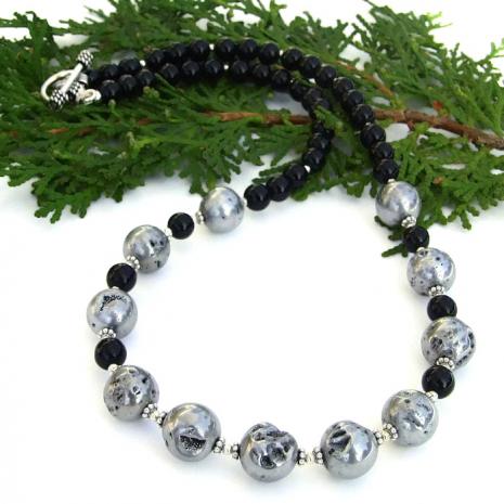 Silver druzy necklace.
