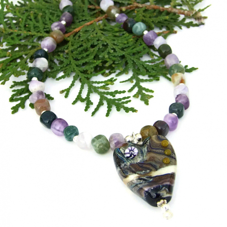 Valentine's Day heart and gemstones fashion necklace.