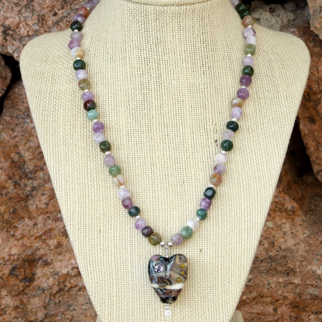 One of a kind heart pendant and gemstone Valentine's Day necklace.