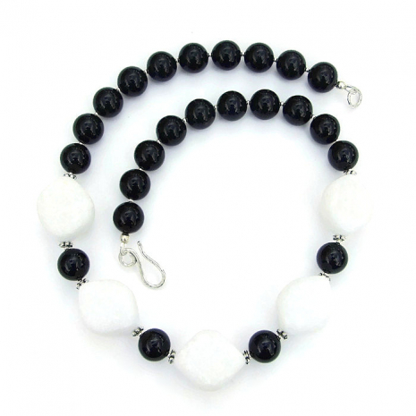 One of a kind black and white handmade gemstone necklace.