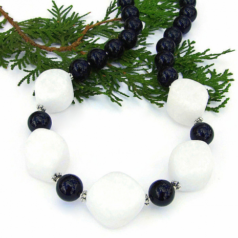 Artisan handmade white quartzite and black jade handmade gemstone necklace.
