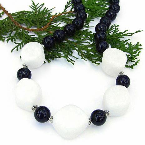 Artisan handmade white quartzite and black jade handmade gemstone necklace.