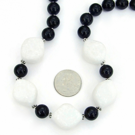 White quartzite and black jade handmade gemstone necklace - artisan jewelry.