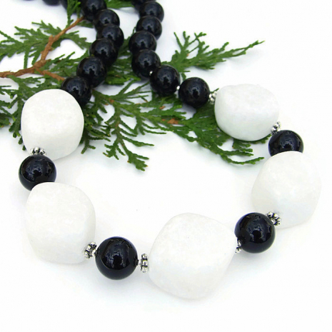 Classic white quartzite and black jade handmade gemstone necklace.
