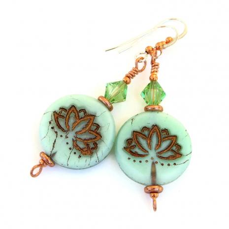 mint green copper lotus earrings gift for her